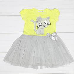 Платье для девочки, короткий рукав,фатиновая юбка (кот) Breeze (размер 104)