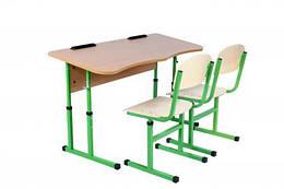 Комплект стіл учнівський 2-місний без полиці антисколіозний, №4-6 + стілець Т-подібний, №4-6