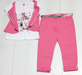 Костюм 3-ка летний для девочки ( футболка короткий рукав +капри+жилет), Cemi Kids (размер 116-122)