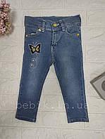 Детские джинсы для девочки с вышивкой бабочка 3-5 лет