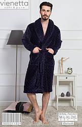 Халат зимний теплый  мужской, рваная махра, средняя длина,  Vienetta (размер XL)