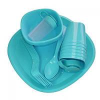 Посуда пластиковая набор для пикника 36 предметов на 4 персоны MHZ R86498 Blue