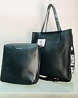 Сумка жіноча шкіряна чорна 2 в 1 сумка + косметичка, фото 1