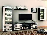 Витрина в гостиную Виола 1Д VL-111-WB MiroMark белый/черный, фото 2