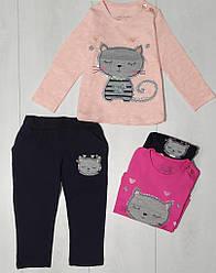 Костюм для девочки демисезонный, футболка с длинным рукавом+штаны (Кот), Breeze (размер 104)