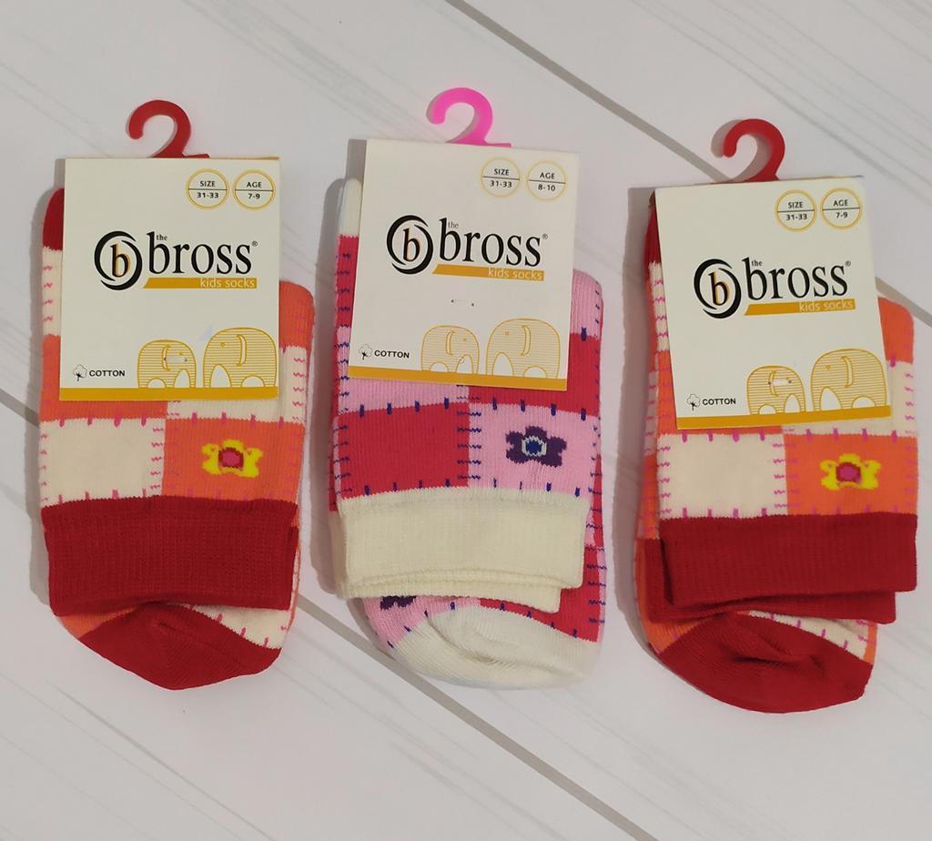 Носки для девочки высокие демисезонные с рисунком Bross (размер 7-9лет.)