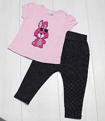 Комплект летний для девочки (футболка  короткий рукав+бриджи),аппликация Зайка, Barmy girls (размер 74)