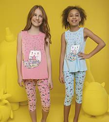Пижама детская для девочки (майка на широкой бретели+капри), Donella (размер 4/5)