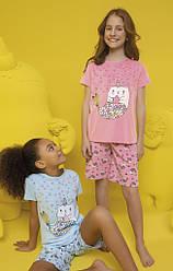 Пижама детская для девочки (футболка короткий рукав+шорты), Donella (размер 4/5)