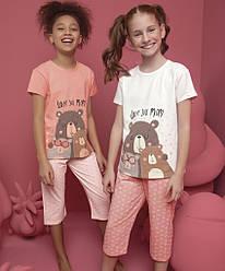 Пижама детская для девочки (футболка короткий рукав+капри), Donella (размер 4/5)