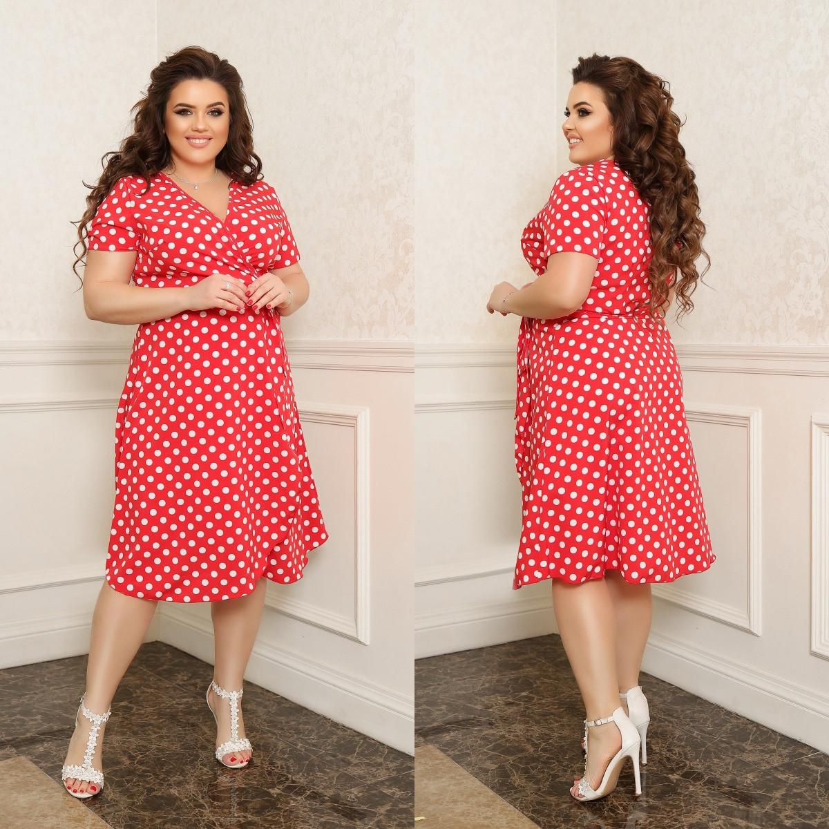 Жіноче плаття на запах в горох тканина софт принт до колін розмір: 44-46, 48-50, 52-54, 56-58