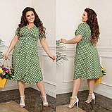 Жіноче плаття на запах в горох тканина софт принт до колін розмір: 44-46, 48-50, 52-54, 56-58, фото 2