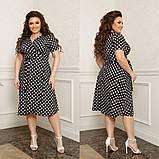 Жіноче плаття на запах в горох тканина софт принт до колін розмір: 44-46, 48-50, 52-54, 56-58, фото 3