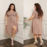 Жіноче плаття на запах в горох тканина софт принт до колін розмір: 44-46, 48-50, 52-54, 56-58, фото 4