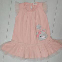 Платье-сетка для девочки,  без рукавов (мишка +звезда),Breeze (размер 104)