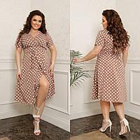 Женское платье на запах в горох ткань софт принт до колен размер: 44-46, 48-50, 52-54, 56-58