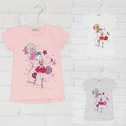 Футболка с коротким рукавом для девочки, с пайетками, .рисунок Девочка, оптом, ПАК/5шт (98-128) х/б, My prayer