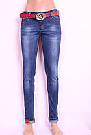 Женские  джинсы c потертостями зауженные к низу, фото 1