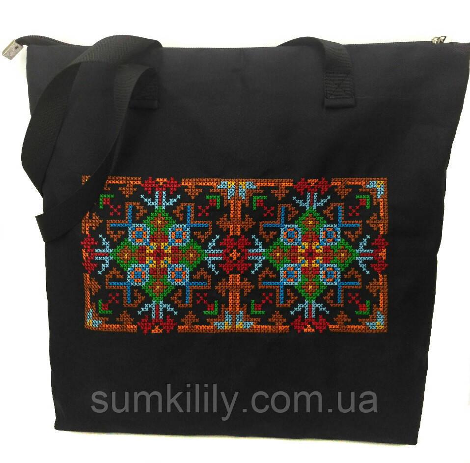 Текстильная сумочка с вышивкой  Шопер 7