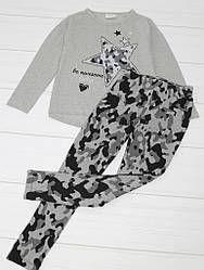 Комплект демисезонный для девочки: кофта длинный рукав+лосины, (рисунок Звезда), Breeze (размер 128)