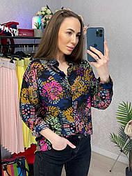 Рубашка женская хлопок с контрастным узором свободного кроя
