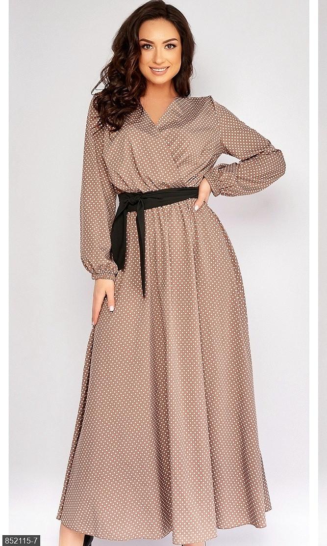 Платье  в пол нарядное  бежевый Осень Украина 50-52 большого размера 852115-7