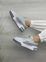 Женские кроссовки Puma Cali Triple Grey. Повседневные серые кеды пума кали