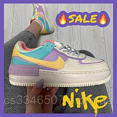Жіночі кросівки Nike Air Force 1 Shadow Beige Violet. Кеди Найк Аір Форс