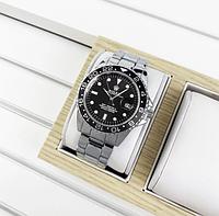 Годинники наручні чоловічі Rolex Submariner 6478 Silver-Black Годинник Ролекс кварцові
