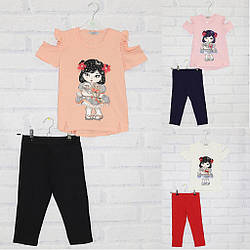 Комплект для девочки футболка с коротким рукавом + велотреки, My prayer (размер 8(128))