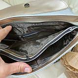 Велика міська жіноча сумка з натуральної шкіри срібляста, фото 2