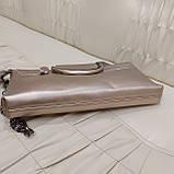 Велика міська жіноча сумка з натуральної шкіри срібляста, фото 3