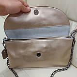 Велика міська жіноча сумка з натуральної шкіри срібляста, фото 4