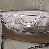 Велика міська жіноча сумка з натуральної шкіри срібляста, фото 8