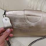 Велика міська жіноча сумка з натуральної шкіри срібляста, фото 7