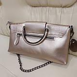 Велика міська жіноча сумка з натуральної шкіри срібляста, фото 5
