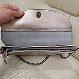 Велика міська жіноча сумка з натуральної шкіри срібляста, фото 6