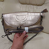 Велика міська жіноча сумка з натуральної шкіри срібляста, фото 9
