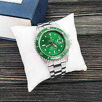 Годинники наручні чоловічі Rolex Submariner 6478 Silver-Green Годинник Ролекс кварцові