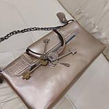 Велика міська жіноча сумка з натуральної шкіри срібляста, фото 10
