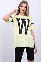 Футболка женская хлопковая оверсайз W размер 48-54, цвет уточняйте при заказе, фото 1