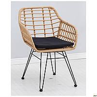 Плетенное кресло Tulum пластик-ротанг латте с подушечкой мягкой под сидение для дома для кафе
