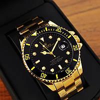 Годинники наручні чоловічі Rolex Submariner Gold Automatic-Black Годинник Ролекс механіка з автопідзаводом