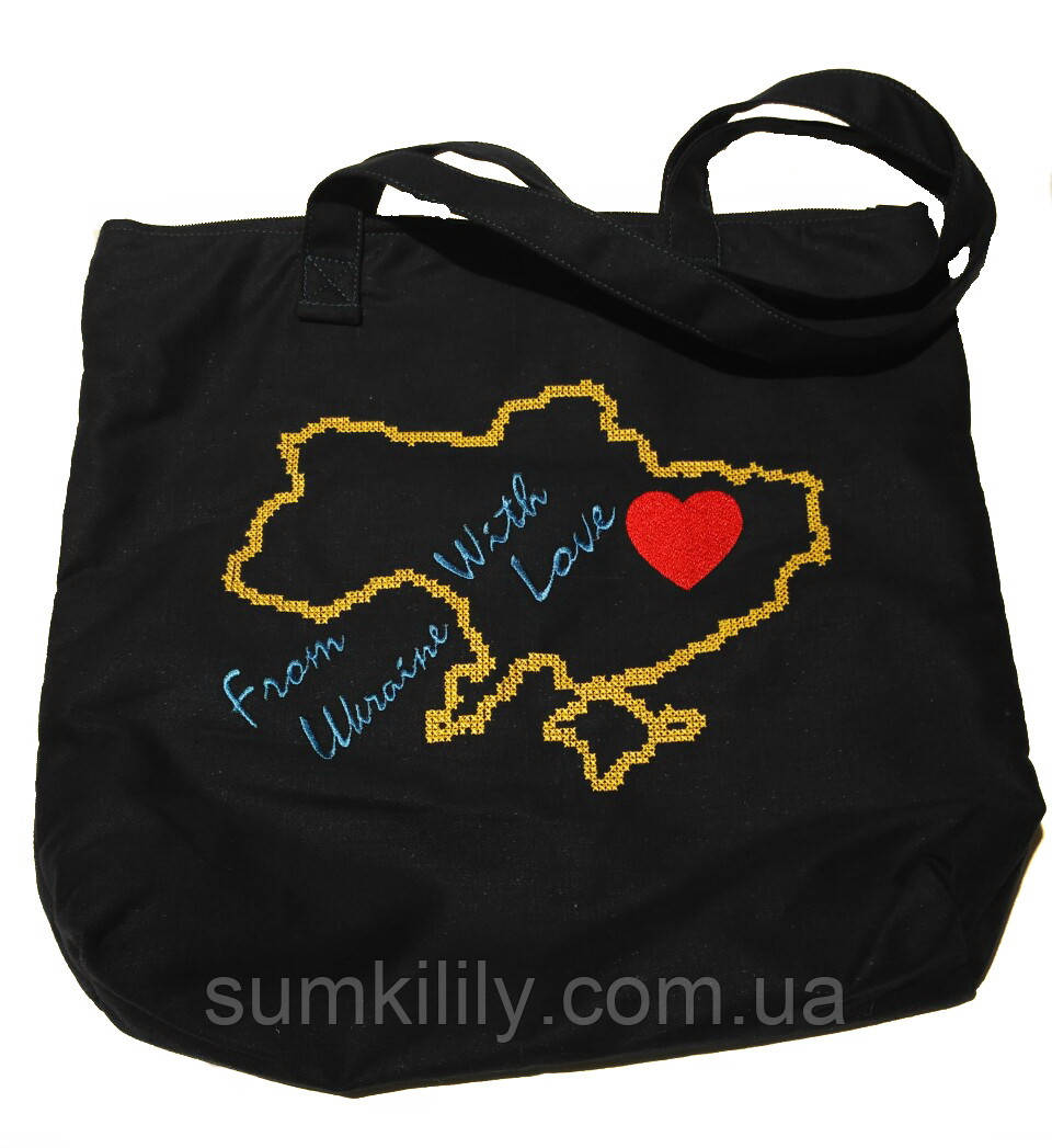 Текстильная сумочка с вышивкой  Шопер 28