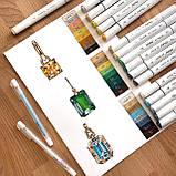 Набор скетч маркеры для рисования 120 штук, США - Ohuhu 120 Colors Dual Tips Alcohol Art Markers Fine & Chisel, фото 8