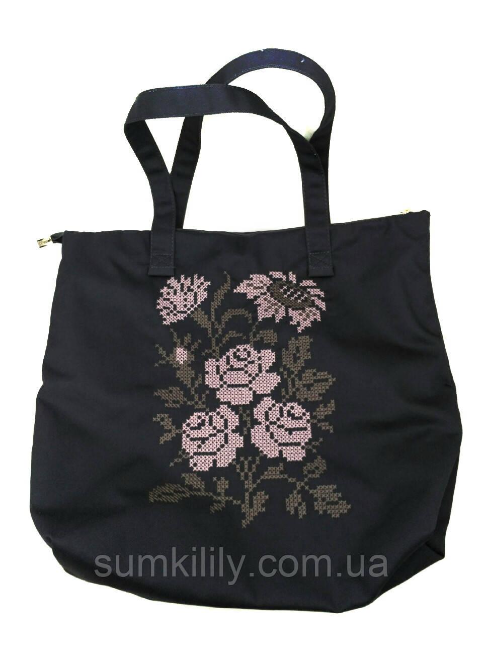 Текстильна сумка з вишивкою Шопер 27