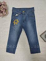 Стильные джинсы для девочки с листком 3-5 лет