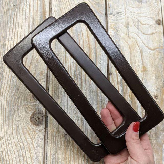 Ручки для сумки прямоугольные деревянные. Цвет Венге