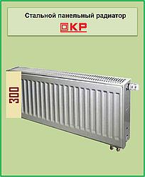 Радіатор сталевий КР 22k 300*400 нижнє підключення з термоклапаном