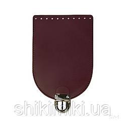 Клапан  для сумки из натуральной кожи (20*14), цвет марсала